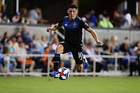 SAN JOSE, CA - AUGUST 03: Cristian Espinoza  during a Major League Soccer (MLS) match between the San Jose Earthquakes and the Columbus Crew on August 03, 2019 at Avaya Stadium in San Jose, California.