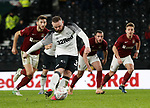 Wayne Rooney of Derby County screw the fourth goal from the penalty spot during the FA Cup match at the Pride Park Stadium, Derby. Picture date: 4th February 2020. Picture credit should read: Darren Staples/Sportimage