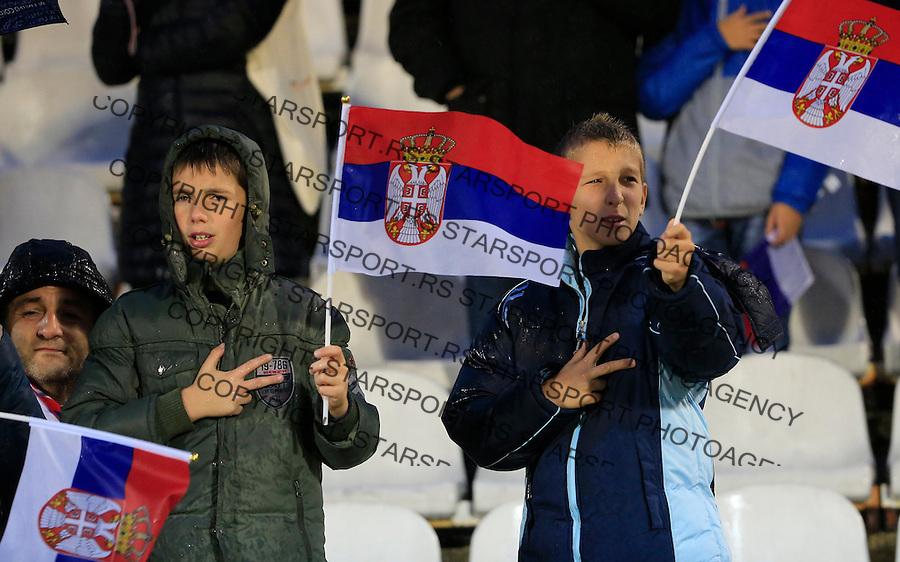 Fudbal, kvalifikacije za UEFA EURO 2016 qualifiers-Qualifying round - Group I<br /> Srbija v Portugal<br /> Navijaci Srbija fans supporterscflags zastave<br /> Beograd, 11.10.2015.<br /> foto: Srdjan Stevanovic/Starsportphoto &copy;