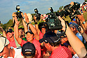 Anthony Kim of the US Ryder Cup Team surrounded by photographers after his win during the sunday singles of the 37th Ryder Cup Matches, September 16 - 21, 2008 played at Valhalla Golf Club, Louisville, Kentucky, USA . ( Picture by Phil Inglis ).... ......