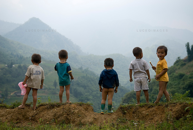 Ethnic minority children play in a village outside of Sapa, Vietnam.
