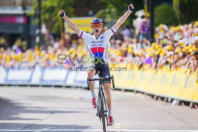 Picture by Alex Whitehead/SWpix.com - 07/09/2015 - Cycling - 2015 Aviva Tour of Britain, Stage 2 - Clitheroe to Colne - Etixx-Quickstep's Petr Vakoc celebrates the victory on stage 2 in Colne.