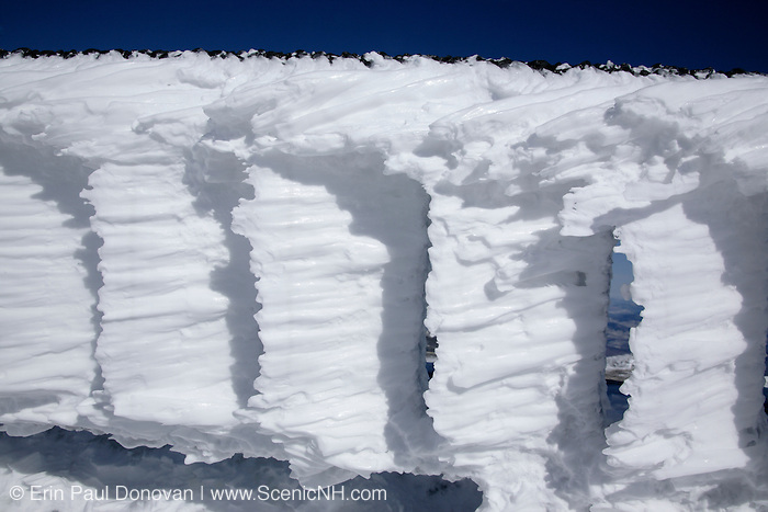 Appalachian Trail - Rime ice on the summit of Mount Washington during the winter months in the White Mountains, New Hampshire USA.