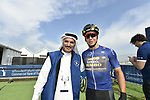 H.E. Saeed Hareb and race leader Dylan Groenewegen (Ned) Team Lotto NL-Jumbo at sign on before the start of Stage 2 The  Ras Al Khaimah Stage of the Dubai Tour 2018 the Dubai Tour&rsquo;s 5th edition, running 190km from Skydive Dubai to Ras Al Khaimah, Dubai, United Arab Emirates. 7th February 2018.<br /> Picture: LaPresse/Fabio Ferrari | Cyclefile<br /> <br /> <br /> All photos usage must carry mandatory copyright credit (&copy; Cyclefile | LaPresse/Fabio Ferrari)