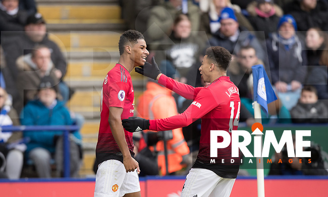 Marcus Rashford of Man Utd celebrates his winning goal with Jesse Lingard of Man Utd during the Premier League match between Leicester City and Manchester United at the King Power Stadium, Leicester, England on 3 February 2019. Photo by Andy Rowland.