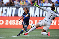 Seattle, WA - Thursday July 27, 2017: Emi Nakajima, Barbara during a 2017 Tournament of Nations match between the women's national teams of the Japan (JAP) and Brazil (BRA) at CenturyLink Field.