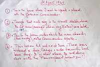 BNPS.co.uk (01202 558833)Pic:  PhilYeomans/BNPS<br /> <br /> Gabriella's note's on the back of the photograph.<br /> <br /> Brighton nonagenarian Gabriella Ezra(91) has finally been recognised for her wartime heroics...<br /> <br /> The extraordinary story of how a teenage girl saved an entire village from being executed by the Nazis has come to light after she finally received a gallantry award nearly 74 years later.<br /> <br /> Fearless Gabriella Ezra, 91, who lives in Brighton, Sussex, intervened to stop her father Luigi and 37 other inhabitants of a rural village in her native Italy from being massacred by a firing squad during the chaotic last days of WW2.<br /> <br /> She has now been awarded an Italian Star of Italy medal after her son Mark wrote to the Italian embassy to make them aware of her remarkable actions on the morning April 28, 1945.<br /> <br /> Gabriella, who was 17 years old at the time, chased after a German officer and pleaded with him to show mercy to the villagers of Capella di Scorze, near Venice, who had been rounded up and locked in a cowshed.<br /> <br /> The Germans were after retribution following an attack on their men by Italian partisans which had left several of them wounded.
