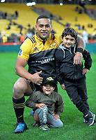 Ngani Laumape with his nephews after the Super Rugby match between the Hurricanes and Chiefs at Westpac Stadium in Wellington, New Zealand on Friday, 9 June 2017. Photo: Dave Lintott / lintottphoto.co.nz