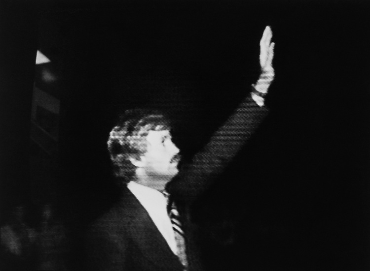 Rep. David Duke, R-La., broadcasted on television while campaigning on Oct. 1, 1990. (Photo by Laura Patterson/CQ Roll Call via Getty Images)