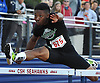 Michael Outing of Farmingdale races to victory in the Division 1 boys' 110 meter hurdles event during Day Two of the Nassau County individual championships and state qualifiers at Cold Spring Harbor High School on Friday, June 5, 2015.<br /> <br /> James Escher