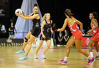 30.08.2017 Silver Ferns Whitney Souness in action during the Quad Series netball match between the Silver Ferns and England at the Trusts Arena in Auckland. Mandatory Photo Credit ©Michael Bradley.