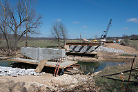 NWA Democrat-Gazette/J.T. WAMPLER Work continues Wednesday March 7, 2018 on Wildcat Creek Bridge on Old Highway 68 in Benton County. Benton County has several major bridge projects in the works. Replacement of Spanker Creek Bridge and Wagon Wheel Road Bridge are soon to follow.
