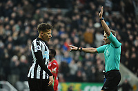 Dwight Gayle of Newcastle United celebrates only to have his goal ruled out for offside during Newcastle United vs Swansea City, Premier League Football at St. James' Park on 13th January 2018