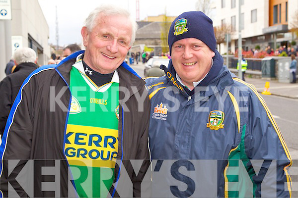 Junior Doyle (Killarney) and his son Kevin Doyle pictured at the Kerry v Mayo match in Croke Park on Sunday..