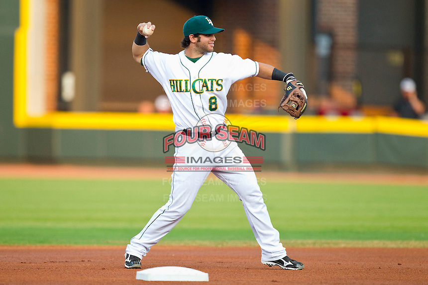Carolina League All-Star Tommy La Stella #8 of the Lynchburg Hillcats makes a throw to first base against the California League All-Stars during the 2012 California-Carolina League All-Star Game at BB&T Ballpark on June 19, 2012 in Winston-Salem, North Carolina.  The Carolina League defeated the California League 9-1.  (Brian Westerholt/Four Seam Images)