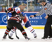 Steve Silva (Northeastern - 17), Joseph Pendenza (Lowell - 14), Chris Aughe - The visiting Northeastern University Huskies defeated the University of Massachusetts-Lowell River Hawks 3-2 with 14 seconds remaining in overtime on Friday, February 11, 2011, at Tsongas Arena in Lowelll, Massachusetts.