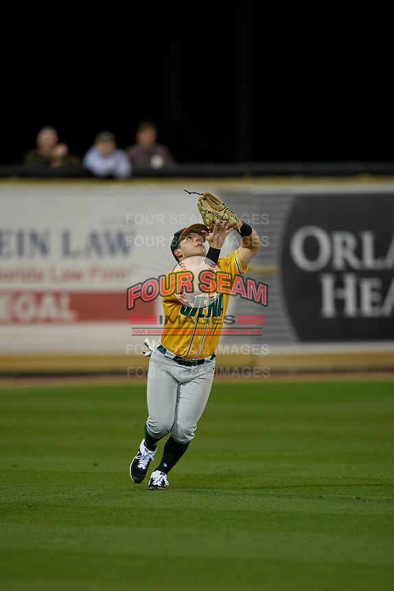 Siena Saints Brendan Conley (1) catches a fly ball during a game against the UCF Knights on February 14, 2020 at John Euliano Park in Orlando, Florida.  UCF defeated Siena 2-1.  (Mike Janes/Four Seam Images)