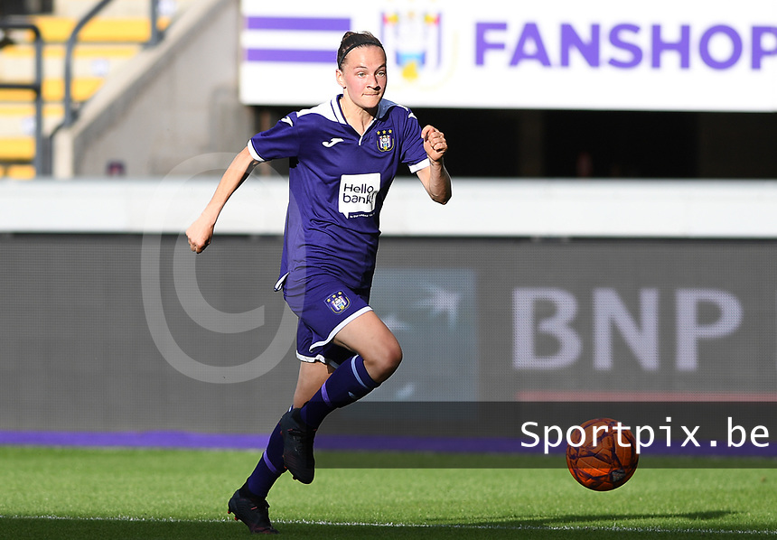 20190807 - ANDERLECHT, BELGIUM : Anderlecht's Elke Van Gorp pictured during the female soccer game between the Belgian RSCA Ladies – Royal Sporting Club Anderlecht Dames  and the Greek FC PAOK Thessaloniki ladies , the first game for both teams in the Uefa Womens Champions League Qualifying round in group 8 , Wednesday 7 th August 2019 at the Lotto Park Stadium in Anderlecht  , Belgium  .  PHOTO SPORTPIX.BE | DAVID CATRY