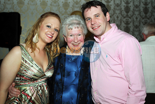 May Carpenter with Rebecca Finnegan and Thomas Wilkinson at her 80th birthday party in the Star and Crescent...Picture Jenny Matthews/Newsfile.ie