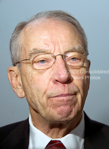 United States Senator Chuck Grassley (Republican of Iowa), Chairman, US Senate Committee on the Judiciary, speak to reporters after presiding over an executive business meeting on Capitol Hill in Washington, DC on Thursday, March 17, 2016.  Grassley repeated he will not conduct confirmation hearings on the nomination of Judge Merrick Garland as Associate Justice of the US Supreme Court replacing Justice Antonin Scalia. <br /> Credit: Ron Sachs / CNP