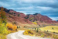 Autumn in the red hills of the Gros Ventre River Valley of Jackson Hole Wyoming.