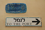Israel, Tel Aviv-Yafo, a street sign in Old Jaffa
