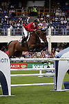 August 07, 2009: Pius Schwizer of Switzerland in action aboard Carlina IV. Meydan FEI Nations Cup. Failte Ireland Horse Show. The RDS, Dublin, Ireland.