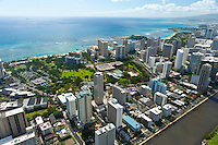 Aerial view of Waikiki and Ft DeRussey over the Ala Wai Canal