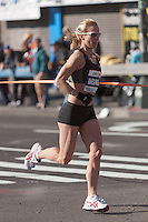 NEW YORK - NOVEMBER 7: Desiree Ficker of the USA approaches the 8 mile mark on 4th avenue in the 2010 New York City Marathon. Ficker finished 44th in 2:52:30.