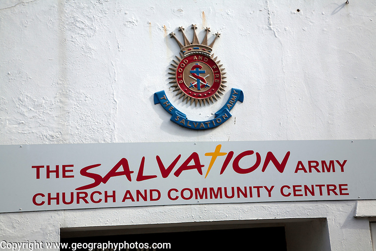 Salvation Army church and community centre sign, Woodbridge, Suffolk, England