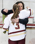 Courtney Kennedy (BC - Associate Head Coach), Erin Kickham (BC - 3) -  The Boston College Eagles defeated the visiting Boston University Terriers 5-0 on BC's senior night on Thursday, February 19, 2015, at Kelley Rink in Conte Forum in Chestnut Hill, Massachusetts.