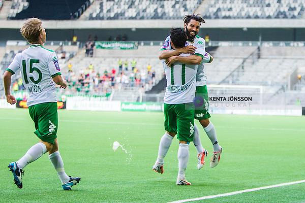 Stockholm 2014-05-24 Fotboll Superettan Hammarby IF - Varbergs BoIS FC  :  <br /> Hammarbys Pablo Pinones-Arce har gjort 2-0 och jublar med Stefan Batan och Viktor Nordin <br /> (Foto: Kenta J&ouml;nsson) Nyckelord:  Superettan Tele2 Arena HIF Bajen Varberg BoIS jubel gl&auml;dje lycka glad happy