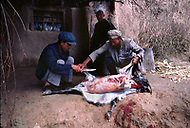 September, 1985. Shaanxi Province, China. The animal market in Zhidan. This small town was called Bao'an when the Red Army settled here in 1936. Men cutting a goat in order to make use of the skin and the rest of the body as a source of food.