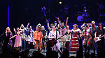 The Go-Go's: Charlotte Caffey, Belinda Carlisle, Kathy Valentine and Jane Wiedlin perform with cast during a special curtain call at Broadway's 'Head Over Heels' on July 12, 2018 at the Hudson Theatre in New York City.