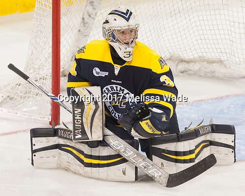 Samantha Ridgewell (Merrimack - 34) - The number one seeded Boston College Eagles defeated the eight seeded Merrimack College Warriors 1-0 to sweep their Hockey East quarterfinal series on Friday, February 24, 2017, at Kelley Rink in Conte Forum in Chestnut Hill, Massachusetts.The number one seeded Boston College Eagles defeated the eight seeded Merrimack College Warriors 1-0 to sweep their Hockey East quarterfinal series on Friday, February 24, 2017, at Kelley Rink in Conte Forum in Chestnut Hill, Massachusetts.