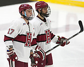Sean Malone (Harvard - 17), Luke Esposito (Harvard - 9) - The Harvard University Crimson defeated the St. Lawrence University Saints 6-3 (EN) to clinch the ECAC playoffs first seed and a share in the regular season championship on senior night, Saturday, February 25, 2017, at Bright-Landry Hockey Center in Boston, Massachusetts.