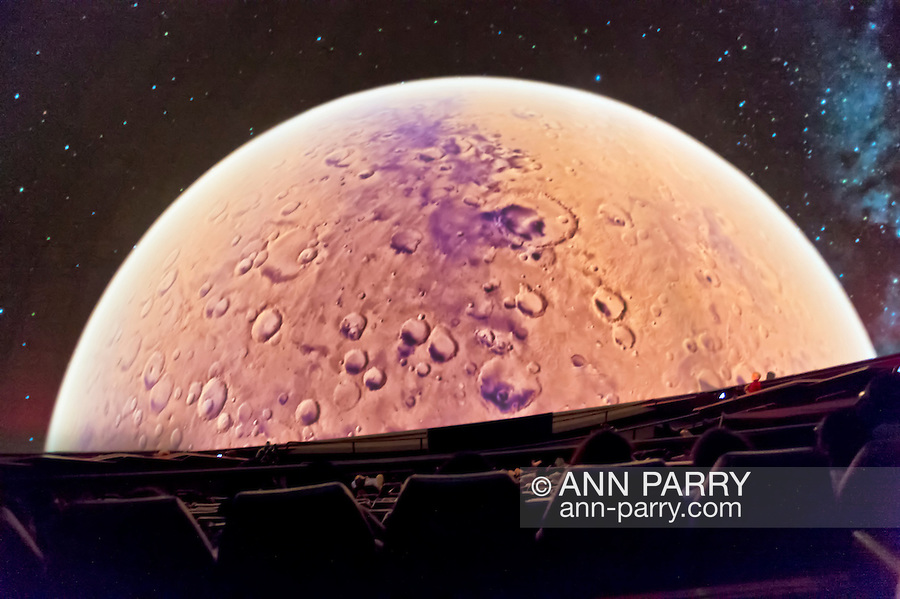 "Oct 4, 2012 - GARDEN CITY, NEW YORK U.S. - At the new JetBlue Sky Theater Planetarium at Cradle of Aviation Museum, Nassau County students watched ""We Are Astronomers"" a digital planetarium show, including a view of Mars. The planetarium, a state-of-the-art digital projection system, officially opens this weekend."