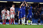 Gary Cahill of Chelsea and Antonio Rudiger of Chelsea thanks the fans at the end of the premier league match at Stamford Bridge Stadium, London. Picture date 30th December 2017. Picture credit should read: Robin Parker/Sportimage