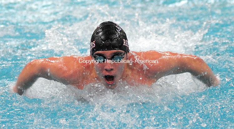 WATERBURY, CT, 02 MARCH  2012-030212JS07-Torrington's Ryan Andrews finished first in the 200 Yard Individual Medley with a time of 2:01:97 during the NVL Boys Swim Championships Friday at Kennedy High School in Waterbury. .Jim Shannon Republican-American