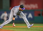 29 July 2017: Colorado Rockies infielder Trevor Story barehands an infield grounder for the first out in the 5th inning against the Washington Nationals at Nationals Park in Washington, DC. The Rockies defeated the Nationals 4-2 in the first game of their 3-game weekend series. Mandatory Credit: Ed Wolfstein Photo *** RAW (NEF) Image File Available ***