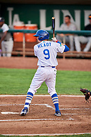 Connor Heady (9) of the Ogden Raptors bats against the Grand Junction Rockies at Lindquist Field on September 6, 2017 in Ogden, Utah. Ogden defeated Grand Junction 11-7. (Stephen Smith/Four Seam Images)