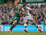 Jordan Crane of Tigers (left) collides with Nathan Hines of Sale - Aviva Premiership - Leicester Tigers vs Sale Sharks - Season 2014/15 - 28th February 2015 - Photo Malcolm Couzens/Sportimage