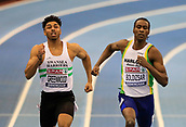 10th February 2019, Arena Birmingham, Birmingham, England; Spar British Athletics Indoor Championships; Leon Greenwood and Shemar Boldizsar compete in the final of the men's 200m race during Day Two of the Spar Indoor Athletics Championships at Birmingham Arena