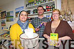 The Killarney Asylum Seekers Initiative (KASI) are celebrating the success of their own Ethnic shop which provides immigrants living in Kerry with some of their own foods as well as raising funds for the ongoing work of the organisation. . L-R  Huda Albayti, Luay Raddam and Shelia Casey.