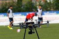 il drone utilizzato da sarri per filmare allenamenti<br /> ritiro precampionato Napoli Calcio a  Dimaro 11 Luglio 2015<br /> <br /> Preseason summer training of Italy soccer team  SSC Napoli  in Dimaro Italy July 11, 2015
