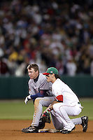 Chipper Jones of the USA and Jorge Cantu of Mexico during the World Baseball Championships at Angel Stadium in Anaheim,California on March 16, 2006. Photo by Larry Goren/Four Seam Images
