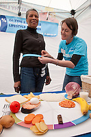 Daphne Smart of Mapperley gets measured by Diabetes UK's Alex Wild