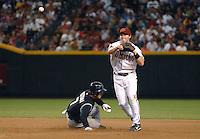 Apr 13, 2007; Phoenix, AZ, USA; Arizona Diamondbacks shortstop (6) Stephen Drew forces out Colorado Rockies second baseman (7) Kazuo Matsui at Chase Field in Phoenix, AZ. Mandatory Credit: Mark J. Rebilas