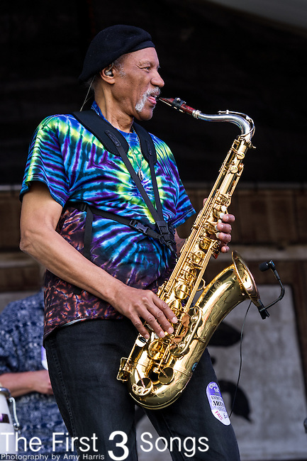 Charles Neville performs with BeauSoleil during the New Orleans Jazz & Heritage Festival in New Orleans, LA.