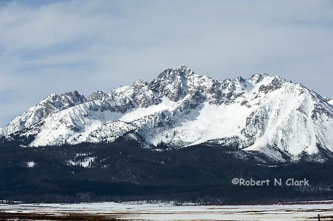 Winter scene of the Sawtooths near Stanley Idaho with snow